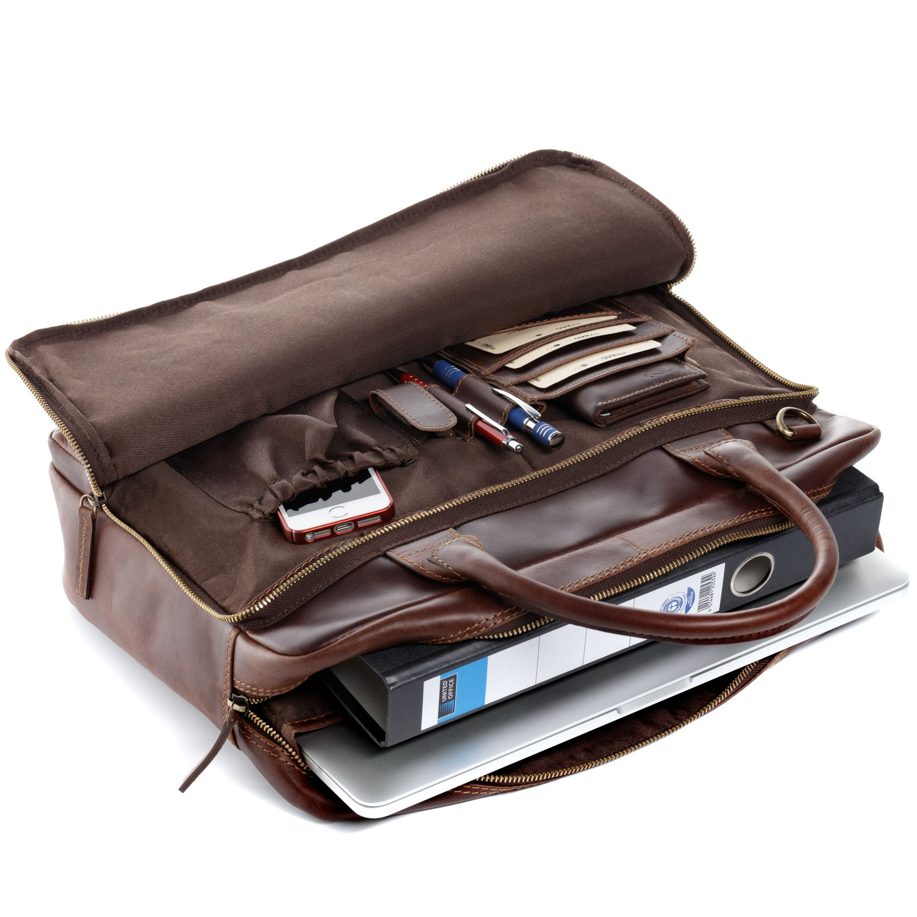 ccfc8a73944 SID & VAIN Laptoptas RYAN Businesstas natuurlijk leer bruin NIEUW