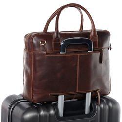 SID & VAIN Laptoptasche RYAN Natur-Leder braun-cognac Businesstasche Laptoptasche 4