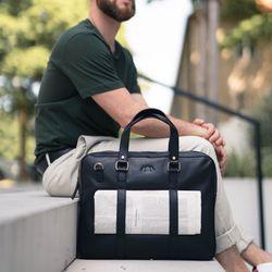 SID & VAIN Laptoptasche Maguire Premium Smooth schwarz Businesstasche Laptoptasche 9