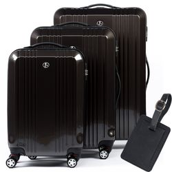 FERGÉ Kofferset + 1x Adressanhänger Hartschale anthrazit Metal Optik 3er Hartschalenkoffer Trolley-Set 4 Zwillings-Rollen 360° Kofferset Hartschale 3-teilig + 1x Leder Adressanhänger