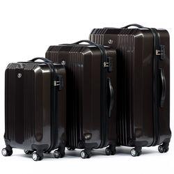 FERGÉ Kofferset 3-teilig mit Leder Adressanhänger CANNES Trolley-Koffer leicht Reisekoffer 3 Größen ABS Dure-Flex Koffer-Set Leicht 3er Hartschalenkoffer Set 4 Zwillingsrollen (360°) 2