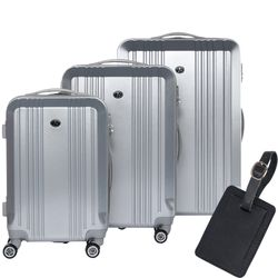 FERGÉ luggage set 3 piece CANNES  hard shell trolley 3 sizes silver ABS suitcase set 4 twin spinner wheels