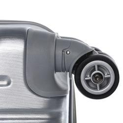 FERGÉ 3er Kofferset + 1x Lederanhänger CANNES ABS Dure-Flex Silver Metal Optik 3er Hartschalenkoffer Roll-Koffer 4 Rollen Kofferset Hartschale 3-teilig + 1x Lederanhänger 3