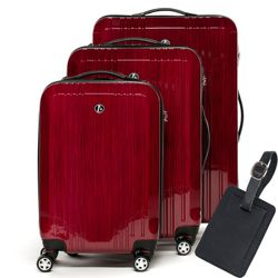 FERGÉ luggage set 3 piece CANNES  hard shell trolley 3 sizes red ABS suitcase set 4 twin spinner wheels
