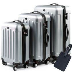 FERGÉ luggage set 3 piece LYON  hard shell trolley 3 sizes silver ABS suitcase set 4 twin spinner wheels