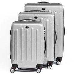 FERGÉ Kofferset 3-teilig mit Leder Adressanhänger LYON Trolley-Koffer leicht Reisekoffer 3 Größen ABS Dure-Flex Koffer-Set Leicht 3er Hartschalenkoffer Set 4 Zwillingsrollen (360°) 3