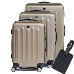 FERGÉ 3 suitcases hard-top cases LYON with leather hangtag -XB-02 trolley set ABS - champagne