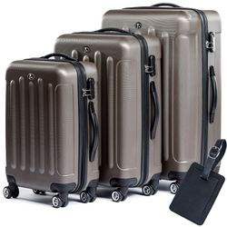 FERGÉ 3 suitcases hard-top cases LYON with leather hangtag -XB-02 trolley set ABS - coffee