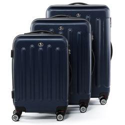 FERGÉ 3er Kofferset + 1x Lederanhänger LYON ABS Dure-Flex dunkelblau 3er Hartschalenkoffer Roll-Koffer 4 Rollen Kofferset Hartschale 3-teilig + 1x Lederanhänger 2