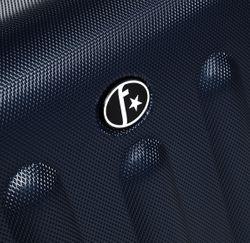 FERGÉ 3er Kofferset + 1x Lederanhänger LYON ABS Dure-Flex dunkelblau 3er Hartschalenkoffer Roll-Koffer 4 Rollen Kofferset Hartschale 3-teilig + 1x Lederanhänger 4