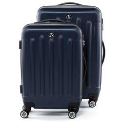 FERGÉ 3er Kofferset + 1x Lederanhänger LYON ABS Dure-Flex dunkelblau 3er Hartschalenkoffer Roll-Koffer 4 Rollen Kofferset Hartschale 3-teilig + 1x Lederanhänger 7