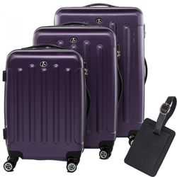 FERGÉ luggage set 3 piece LYON  hard shell trolley 3 sizes Purple ABS suitcase set 4 twin spinner wheels