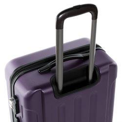 FERGÉ 3er Kofferset + 1x Lederanhänger LYON ABS Dure-Flex lila 3er Hartschalenkoffer Roll-Koffer 4 Rollen Kofferset Hartschale 3-teilig + 1x Lederanhänger 5