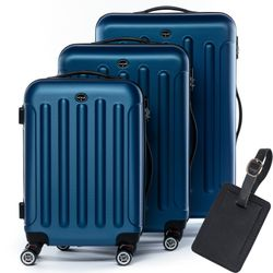 FERGÉ 3 suitcases hard-top cases LYON with leather hangtag -XB-02 trolley set ABS - royal-blue