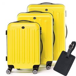 FERGÉ 3 suitcases hard-top cases LYON with leather hangtag -XB-02 trolley set ABS - yellow