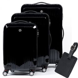 FERGÉ 3 suitcases hard-top cases CANNES with leather hangtag -XB-03- trolley set ABS&PC - black-shiny