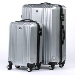FERGÉ 3er Kofferset + 1x Lederanhänger CANNES ABS & PC silber glänzend 3er Hartschalenkoffer Roll-Koffer 4 Rollen Kofferset Hartschale 3-teilig + 1x Lederanhänger 4