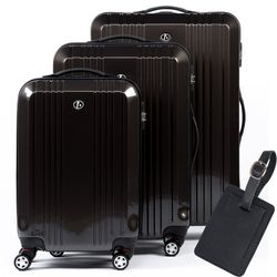 FERGÉ 3 suitcases hard-top cases CANNES with leather hangtag -XB-03- trolley set ABS&PC - anthracite-shiny
