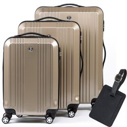 FERGÉ luggage set 3 piece CANNES  hard shell trolley 3 sizes beige Polycarbonate suitcase set 4 twin spinner wheels