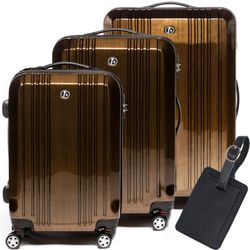 FERGÉ 3 suitcases hard-top cases CANNES with leather hangtag -XB-03- trolley set ABS&PC - bronze-metallic