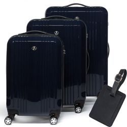 FERGÉ 3 suitcases hard-top cases CANNES with leather hangtag -XB-03- trolley set ABS&PC - dark-blue-wire