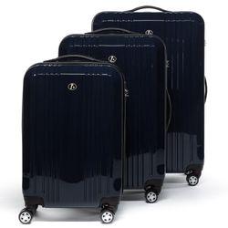 FERGÉ Kofferset 3-teilig mit Leder Adressanhänger CANNES Trolley-Koffer leicht Reisekoffer 3 Größen ABS & PC Koffer-Set Leicht 3er Hartschalenkoffer Set 4 Zwillingsrollen (360°) 2