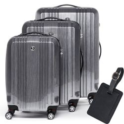 FERGÉ 3 suitcases hard-top cases CANNES with leather hangtag -XB-03- trolley set ABS&PC - aluminium-look
