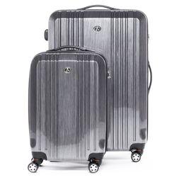 FERGÉ 3er Kofferset + 1x Lederanhänger CANNES ABS & PC Aluminium-Optik 3er Hartschalenkoffer Roll-Koffer 4 Rollen Kofferset Hartschale 3-teilig + 1x Lederanhänger 2