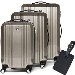 FERGÉ 3er Kofferset + 1x Lederanhänger CANNES ABS & PC champagner-metallic 3er Hartschalenkoffer Roll-Koffer 4 Rollen Kofferset Hartschale 3-teilig + 1x Lederanhänger
