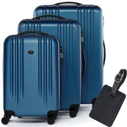 FERGÉ luggage set 3 piece Marseille  hard shell trolley lock 3 sizes blue ABS suitcase set 4 spinner wheels