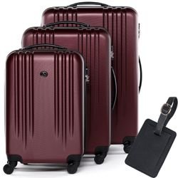 FERGÉ trolley set Marseille with leather hangtag -XB-06-3- 3 suitcases hard-top cases ABS - burgundy