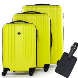 FERGÉ luggage set 3 piece Marseille  hard shell trolley lock 3 sizes yellow ABS suitcase set 4 spinner wheels