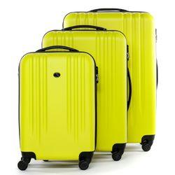 FERGÉ 3er Kofferset + 1x Lederanhänger Marseille ABS Dure-Flex gelb 3er Hartschalenkoffer Roll-Koffer 4 Rollen Kofferset Hartschale 3-teilig + 1x Lederanhänger 5