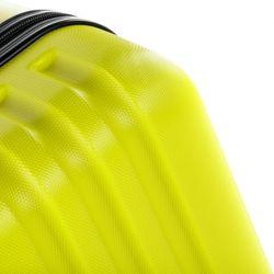 FERGÉ 3er Kofferset + 1x Lederanhänger Marseille ABS Dure-Flex gelb 3er Hartschalenkoffer Roll-Koffer 4 Rollen Kofferset Hartschale 3-teilig + 1x Lederanhänger 3