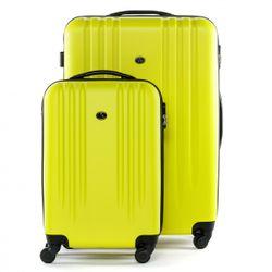 FERGÉ 3er Kofferset + 1x Lederanhänger Marseille ABS Dure-Flex gelb 3er Hartschalenkoffer Roll-Koffer 4 Rollen Kofferset Hartschale 3-teilig + 1x Lederanhänger 4