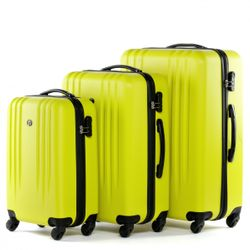 FERGÉ 3er Kofferset + 1x Lederanhänger Marseille ABS Dure-Flex gelb 3er Hartschalenkoffer Roll-Koffer 4 Rollen Kofferset Hartschale 3-teilig + 1x Lederanhänger 6