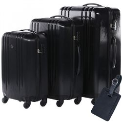 FERGÉ trolley set Marseille with leather hangtag -XB-06-3- 3 suitcases hard-top cases ABS - black-emboss