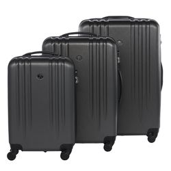 FERGÉ trolley set Marseille -XB-06-3- 3 suitcases hard-top cases ABS - antracite-emboss