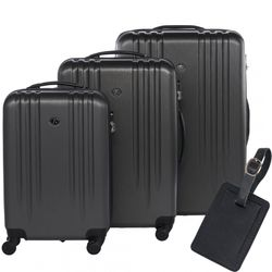 FERGÉ trolley set Marseille with leather hangtag -XB-06-3- 3 suitcases hard-top cases ABS - antracite-emboss