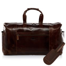 SID & VAIN travel bag BRISTOL -1507- weekender PULL-UP leather - brown-cognac