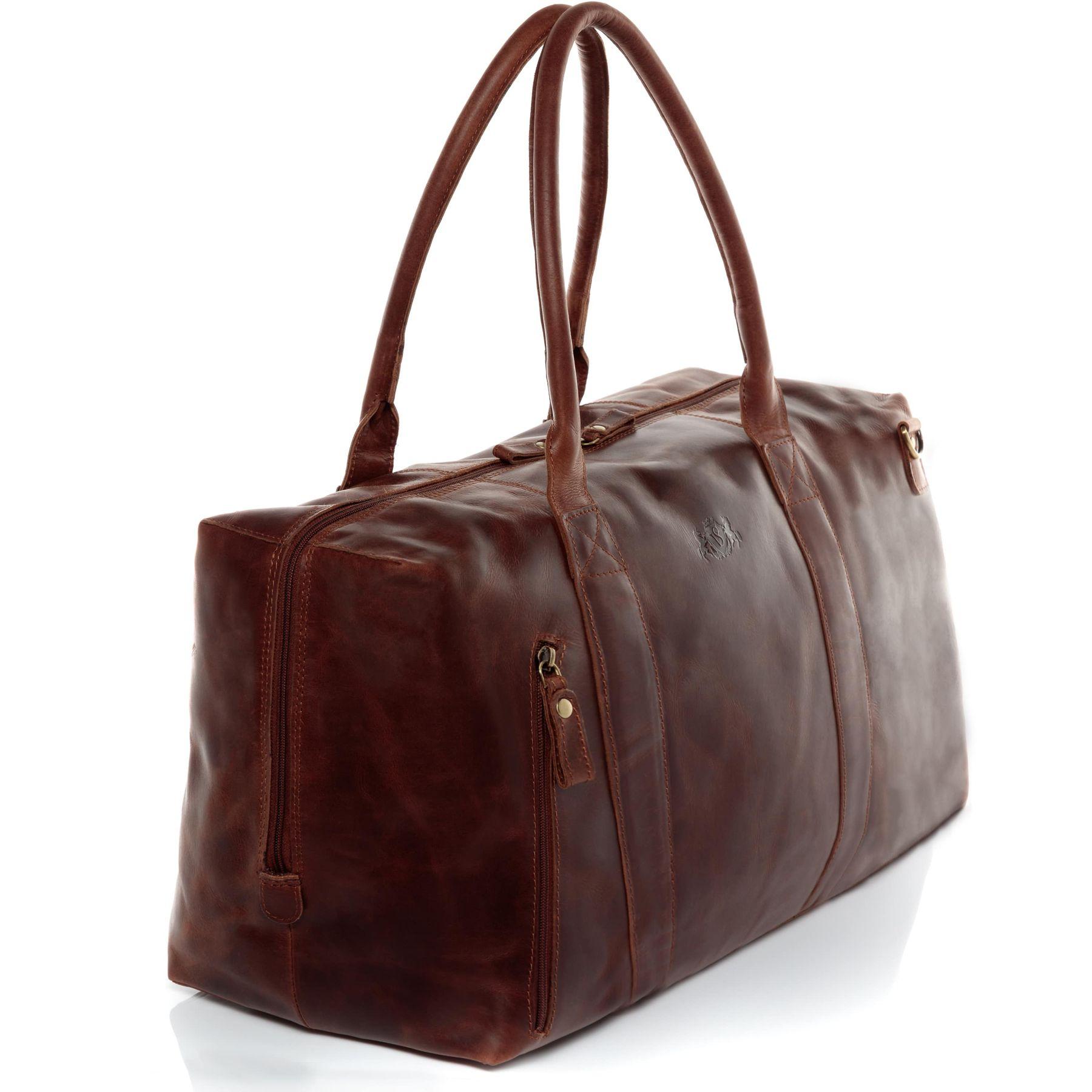 SID /& VAIN Sac de Voyage Cuir Yale Zip Grand 53 cm fourre-Tout Besace Week-End Sac Sport Bagages Cabine /à Main Marron