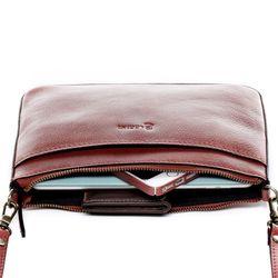 BACCINI Clutch LORENA Vintage Leder rot Abendtasche Clutch mit langem Schultergurt 4