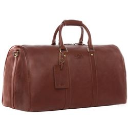 SID & VAIN travel bag carry-all  FRANKLIN  weekender duffel bag L brown Smooth Leather overnight duffle bag hold-all