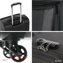 FERGÉ Handgepäck-Koffer Saint-Tropez Bordgepäck-Trolley Weichschale carry-on Nylon-Denim Koffer Leicht Stoffkoffer Kabinentrolley 4 Rollen (360°) 5