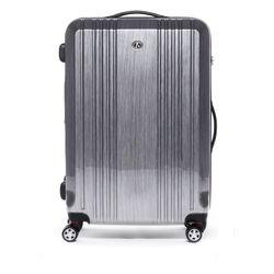 FERGÉ Großer Koffer CANNES ABS & PC Aluminium-Optik Hartschalenkoffer Trolley 4 Rollen Großer Koffer Hartschale 1