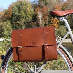 SID & VAIN Fahrradtasche BOSTON-BIKE Sattelleder braun Aktentasche mit KlickFix Adapter Fahrradtasche 6