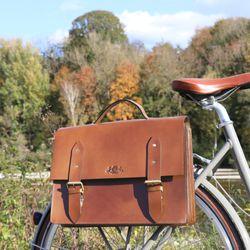 SID & VAIN Fahrradtasche BRIGHTON-BIKE Sattelleder hellbraun Aktentasche mit KlickFix Adapter Fahrradtasche 5