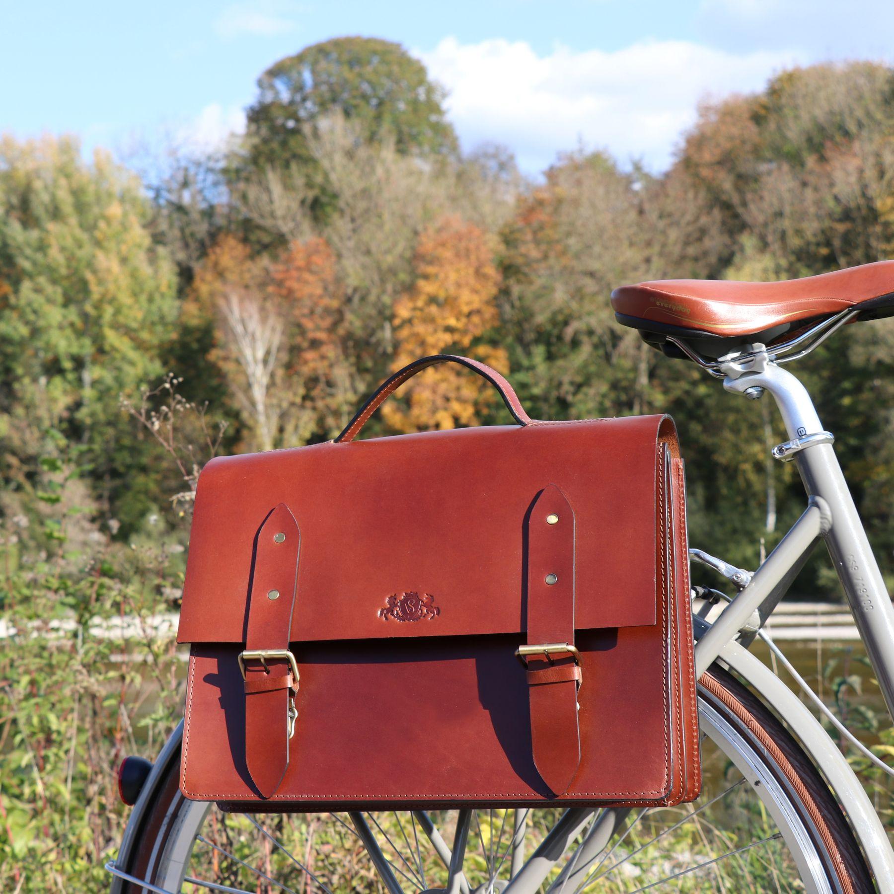 4 Zoll echte Ledertasche Damen Herren braun SID /& VAIN Fahrradtasche Leder Boston-Bike groß Aktentasche mit KlickFix Adapter Unisex 15 Zoll Laptop Gepäckträgertasche bis 15