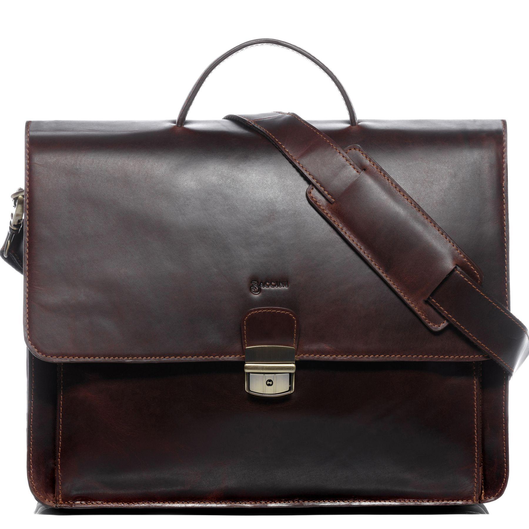 61311b134e BACCINI serviette ordinateur portable cuir marron cartable porte-document  attaché-case sac de travail avec sangle Nouveau