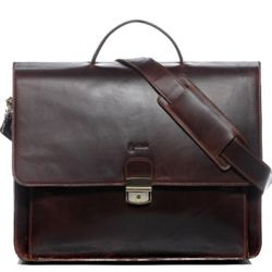 BACCINI serviette ordinateur portable cuir marron cartable porte-document attaché-case sac de travail avec sangle